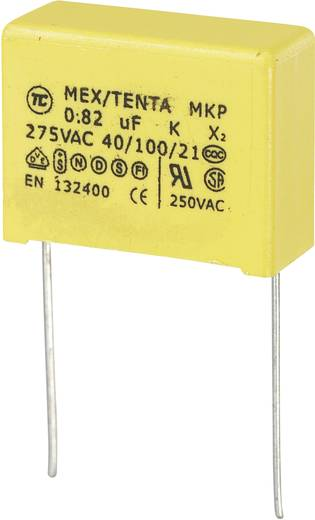 MKP kondenzátor X2, 0,82 µF, 275 V/AC, ±10 %, 26 x 11 x 20 mm, raszter: 22,5 mm