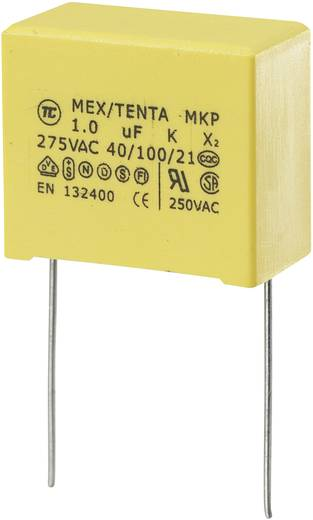 MKP kondenzátor X2, 1 µF, 275 V/AC, ±10 %, 26,5 x 14 x 20 mm, raszter: 22,5 mm