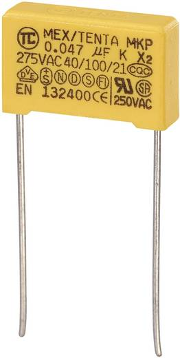 MKP kondenzátor X2, 0,047 µF, 275 V/AC, ±10 %, 18 x 5 x 11 mm, raszter: 15 mm