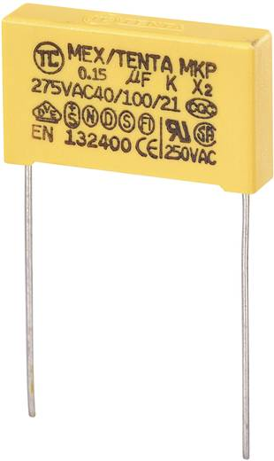 MKP kondenzátor X2, 0,15 µF, 275 V/AC, ±10 %, 26,5 x 6 x 15 mm, raszter: 22,5 mm