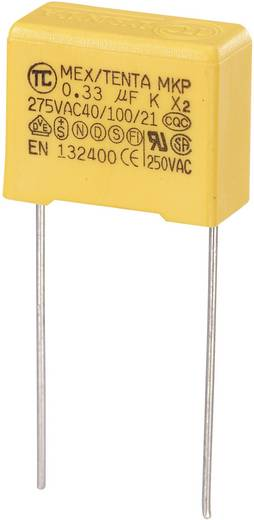 MKP kondenzátor X2, 0,33 µF, 275 V/AC, ±10 %, 18 x 8,5 x 14,5 mm, raszter: 15 mm