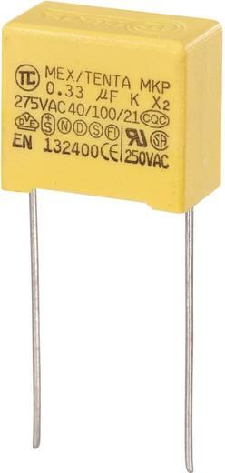 MKP kondenzátor X2, 0,33 µF, 275 V/AC, ±10 %, 18 x 10 x 16 mm, raszter: 15 mm