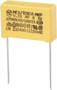 MKP kondenzátor X2, 0,33 µF, 275 V/AC, ±10 %, 26,5 x 8,5 x 17 mm, raszter: 22,5 mm (MKP-X2)