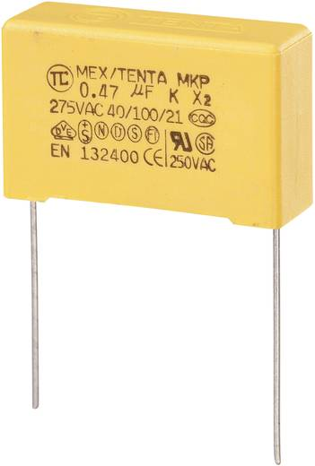 MKP kondenzátor X2, 0,47 µF, 275 V/AC, ±10 %, 30 x 11 x 20 mm, raszter: 27,5 mm