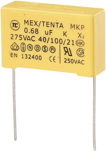MKP kondenzátor X2, 0,68 µF, 275 V/AC, ±10 %, 30 x 11 x 20 mm, raszter: 27,5 mm