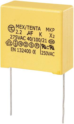 MKP kondenzátor X2, 2 µF, 275 V/AC, ±10 %, 32 x 15 x 30 mm, raszter: 27,5 mm