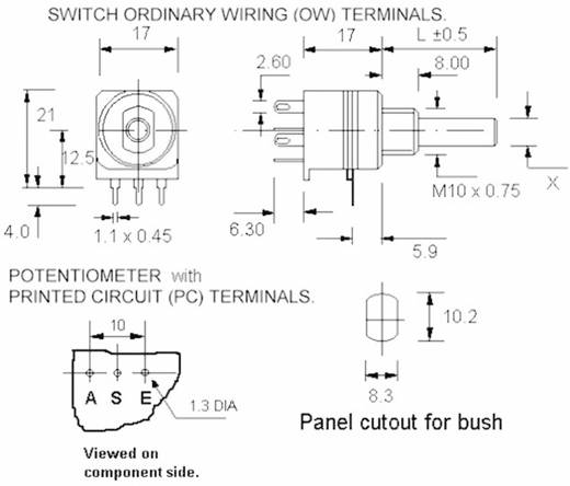 Kapcsolós forgó potméter, 6 mm-es tengely, lin 10 kΩ, Potentiometer Service GmbH 7515