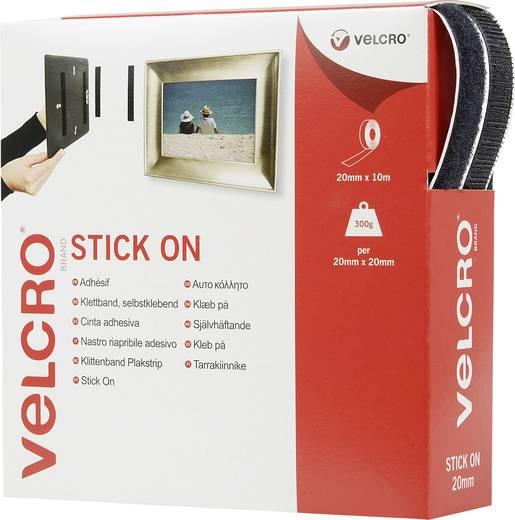 Öntapadó tépőzár szalag, 10 m x 20 mm, fekete, Stick On EC60220