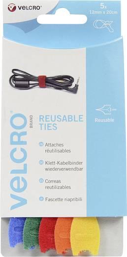Tépőzáras kábelkötöző, 20 cm x 12 mm, kék, zöld, piros, narancs, sárga, 5 db, EC6025