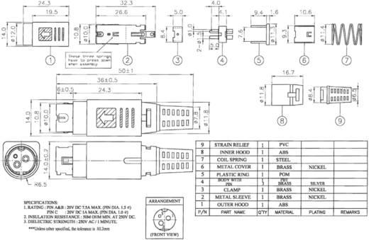 Hálózati csatlakozó dugó, egyenes, pólusszám: 3, fekete, 7,5 A, BKL Electronic 0210003