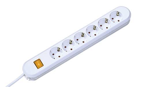 Hálózati elosztó kapcsolóval, 6 részes, fehér, Bachmann Electric 381.250K