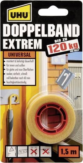 """Kétoldalas ragasztószalag, UHU® """"Extrem"""" (H x Sz) 1.5 m x 19 mm UHU, tartalom: 1 tekercs"""