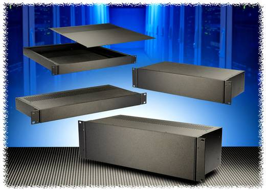 Hammond Electronics alumínium doboz, RM sorozat RM2U18BRKT acél (H x Sz x Ma) 508 x 8 x 50 mm, fekete