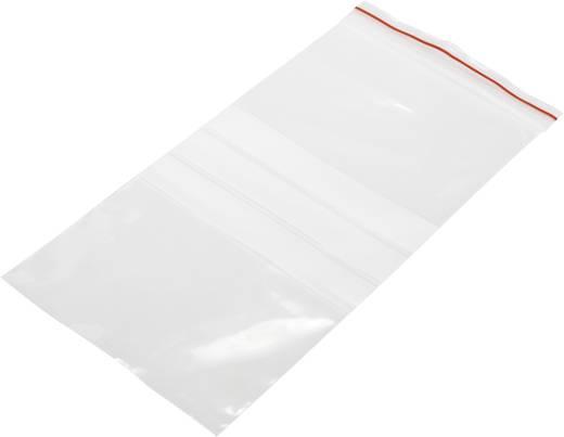 Simítózáras tasak 100 mm x 200 mm, átlátszó, feliratozható csíkkal