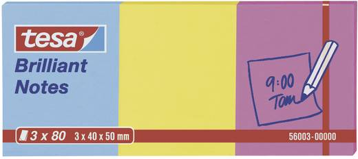 Post-it Tesa® Brilliant Notes, 3 x 80 lap, kék/sárga/rózsaszín 40 x 50 mm TESA 56003