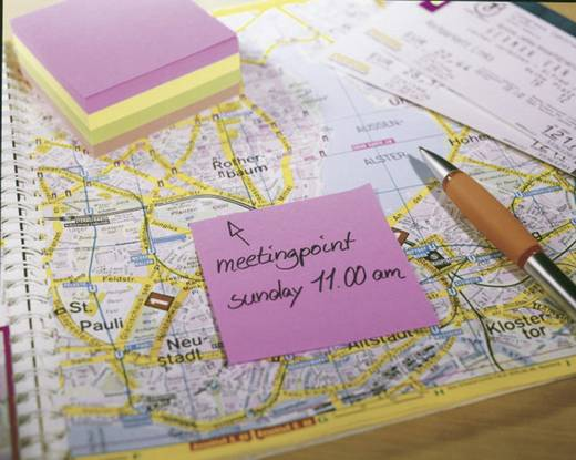Tesa öntapadó jegyzettömb, jelölőcímke 3db-os készlet sárga, rózsaszín, zöld 75 mm x 75 mm TESA 56004-00-00