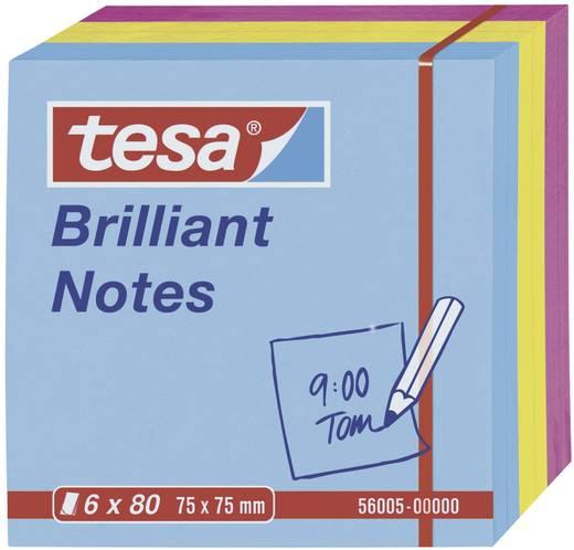 Post-it Tesa® Brilliant Notes, 6 x 80 lap, kék/sárga/rózsaszín 75 x 75 mm TESA 56005