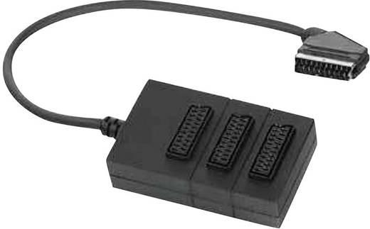 SCART 3-as elosztó, [1x SCART dugó - 3x SCART alj] 0,2 m, fekete