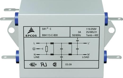Epcos Hálózati zavarszűrő, SIFI C, nagy csillapítás STANDARD SZŰRŐ, SIFI C, 2X3A 250V 115/250 V/50-60 Hz 3 A