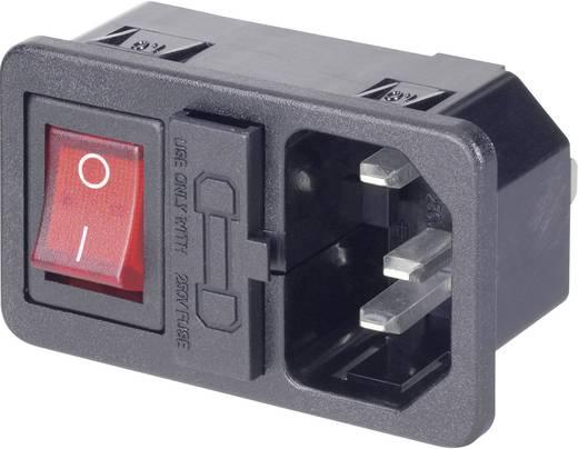 Beépíthető hálózati műszercsatlakozó dugó biztosítékkal és kapcsolóval, 3 pól., függőleges, 10 A, fekete, C14, 501638