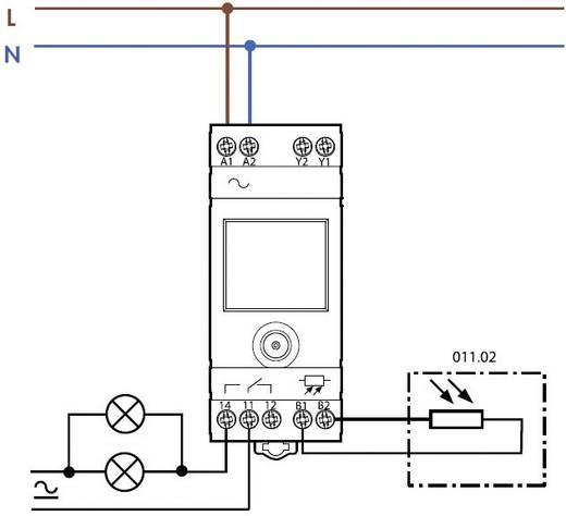 Finder DIN sínes alkonykapcsoló, LCD-s, 230V/AC, 2-150 lux, 1 áramkör, 11.91.8.230.0000