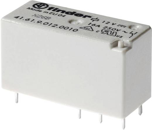 Alacsony dugaszolható-/nyák relé 12 V/DC 1 váltó 16 A 250 V/AC 30 V/DC, Finder 41.61.9.012.0010
