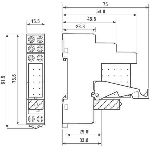Interfész relé modul, 2 váltó 8 A, Finder 49.52.7.024.5050