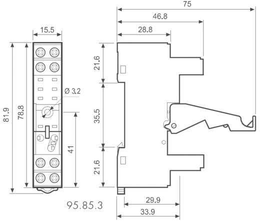 Csavaros foglalat a DIN-sínre 40/41/44-es sorozathoz, Finder 95.85.3