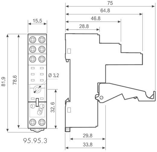 Csavaros foglalat a DIN-sínre 40/41/44-es sorozathoz, Finder 95.95.3