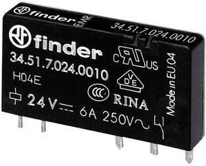 Keskeny dugasz-/nyák relé 24 V/DC 1 váltó, 6 A 24 V/DC/250 V/AC 1500 VA, Finder 34.51.7.024.0010 Finder