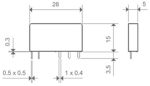 Keskeny dugasz-/nyák relé 5 V/DC 1 váltó, 6 A 24 V/DC/250 V/AC 1500 VA, Finder 34.51.7.005.0010