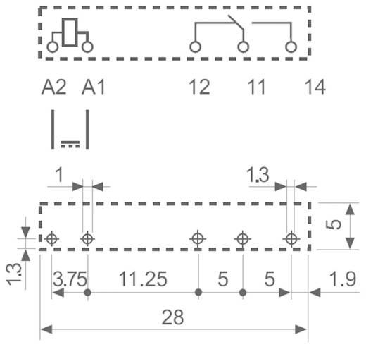 Keskeny dugasz-/nyák relé 60 V/DC 1 váltó, 6 A 24 V/DC/250 V/AC 1500 VA, Finder 34.51.7.060.5010