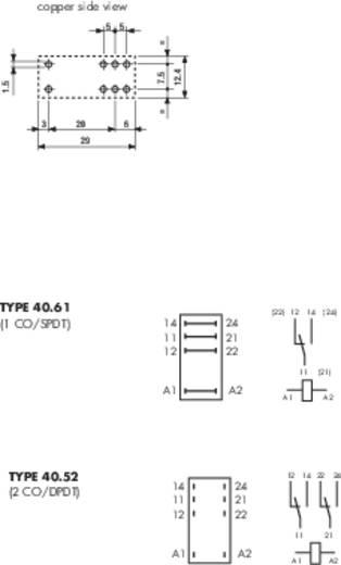 Dugaszolható-/nyák relé 12 V/DC 2 váltó, 8 A 250 V/AC 30 V/DC 2000 VA, Finder 40.52.9.012.0000