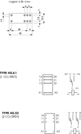 Dugaszolható-/nyák relé 12 V/DC 2 váltó, 8 A 250 V/AC 30 V/DC 2000 VA, Finder 40.52.9.012.5000