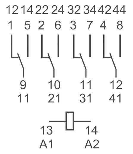 Miniatűr relé 12 V/DC 4 váltó 7 A 250 V/AC 7 A/250 V/AC, Finder 55.34.9.012.0040