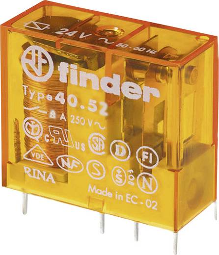 Dugaszolható-/nyák relé 24 V/AC 2 váltó, 8 A 250 V/AC 30 V/DC 2000 VA, Finder 40.52.8.024.0000