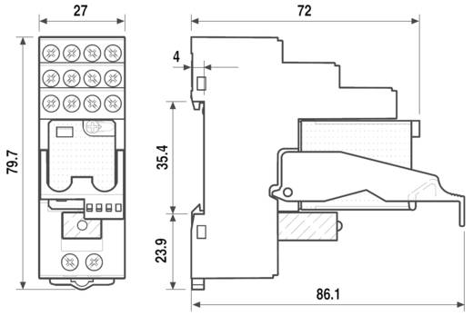 Interfész relé modul, 4 váltó 7 A, Finder 59.34.8.230.5060