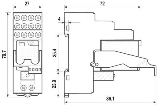 Interfész relé modul, 4 váltó 7 A, Finder 59.34.9.024.5050