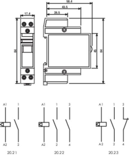 Impulzus relé 12 V/AC 2 záró, 16 A 400 VAC/30 VDC, Finder 20.22.8.012.4000