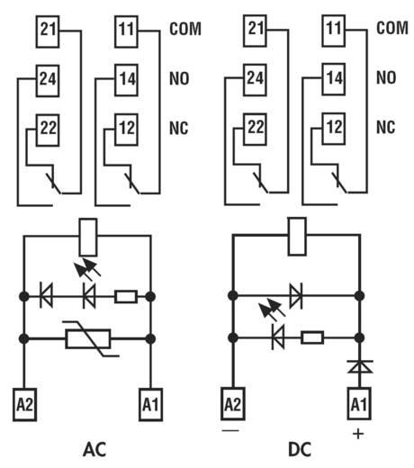 Finder kapcsoló relé, 24V/DC, 2 váltó, 8A, 4C.02.9.024.0050