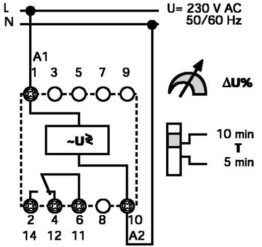 1 fázisú hálózati feszültség figyelő 230 V-50/60 Hz, Finder 71.11.8.230.1010