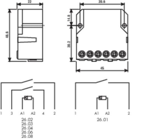 Relé, csatlakozó hüvellyel, 1S/1Ö 230 VAC, 26. sorozat