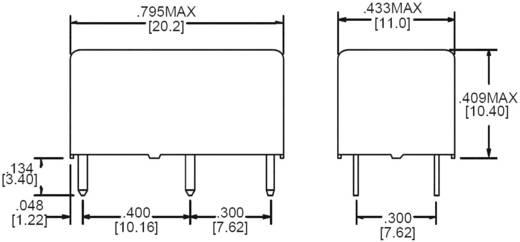 Szubminiatűr teljesítményrelé 6 V/DC 2 záró 5 A 150 V/DC/380 V/AC 1250 VA/150 W, Zettler ElectronicsAZ881-2A-6DEA