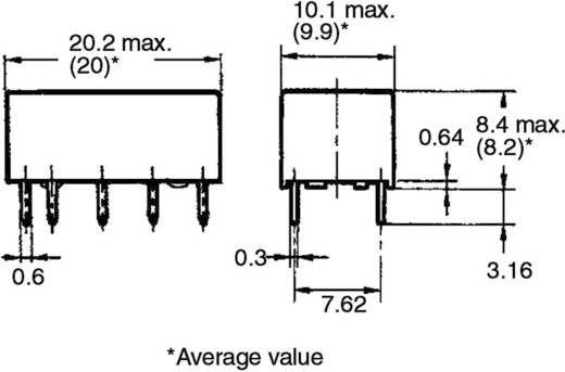 Jelzőrelé, bistabil, 5 V/DC 2 váltó (30 V/DC) 2 A/ (125 V/AC) 0,5 A Omron G6AK-274P-ST-US 5 VDC