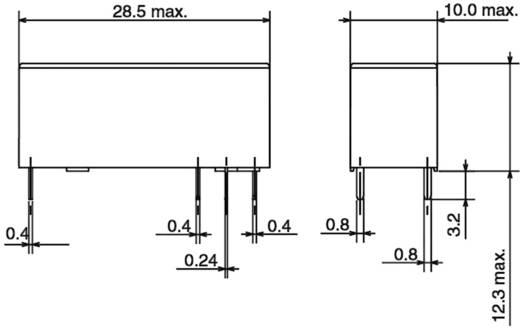 Teljesítmény relé kis beépítési mélységgel, 24 V/DC 1 váltó, 250 V/AC/10 A/30 V/DC/5 A, Omron G6RL-14-ASI 24 VDC