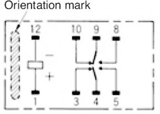 Rendkívül vékony jel relé 12 V/DC 2 váltó, 2 A 220 V/DC/250 V/AC, 62,5 VA/60 W, Omron G6S-2F 12 VDC