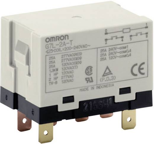 Nagy teljesítményű relé 24 V/AC 2 záró, 25 A 250 V/AC, 5500 VA, Omron G7L-2A-T 24 VAC