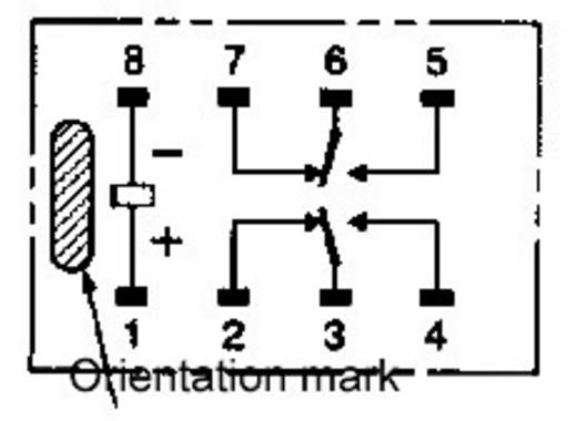 2 pólusú PCB jel relé, monostabil, 5 V/DC 2 váltó, 1 A 125 V DC/AC 62,5 VA/24 W, Omron G6K-2F-Y 5DC