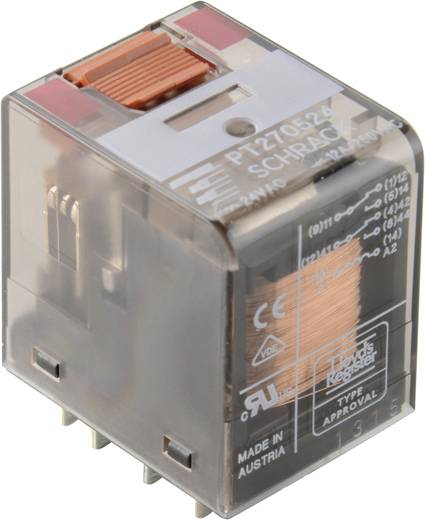 Miniatűr relé 230 V/AC 4 váltó 6 A 250 V/AC, 1500 VA, TE Connectivity PT570730