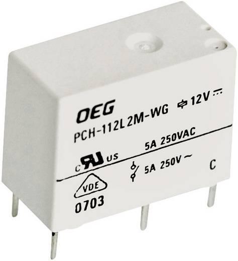 Miniatűr nyák teljesítmény relé 12 V/DC 1 záró, 5 A 250 V/AC, 400 V/AC 1250 VA, TE Connectivity PCH-112L2M-WG